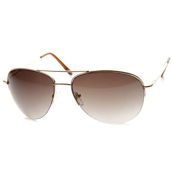 Classic Metal Semi-Rimless Spring Hinged Aviator Sunglasses