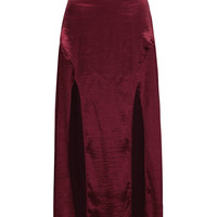 Red Silky Split Maxi Skirt