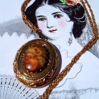 Baroque locket pendant vintage necklace