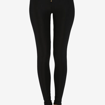 High Rise Front Zip Leggings - Black