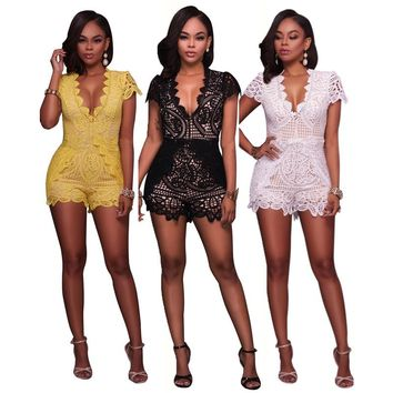 2017 Summer New Women Playsuits Mini Sexy Romper Trousers Body Femme Lace Bodysuit Hollow Out Short Playsuits for Women Cloth