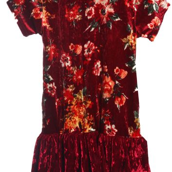 Girls Burgundy Floral Velvet Hoodie Dress w. Pockets 2-12 & Plus 14x-18x