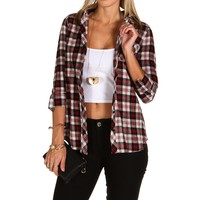 Sale-black Hooded Plaid Shirt