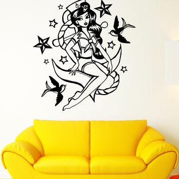 Vinyl Wall Decal Pin Up Nautical Style Retro Sexy Girl Sailor Stickers Unique Gift (1885ig)