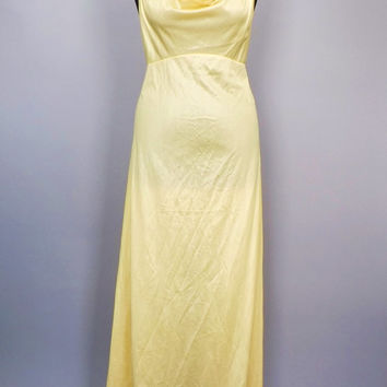 Vintage 1970s Yellow Maidenform Dreamwear Maxi Lingerie Nightgown Size Medium Princess Grecian Goddess Romantic Fairy Disco Glam Nightie