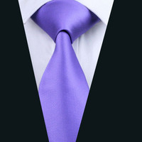 Fashion Men`s Tie 100% Silk Classic Purple Solid Jacquard Woven Necktie For Formal Wedding Party Business