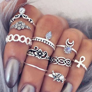 10Pcs Vintage Boho & Elephant Ring Set +Gift Box + Necklace