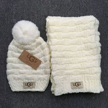 """Gucci"" Fashion Casual Trending Women Winter Knit Warmer Hat Cap Scarf Set White G"