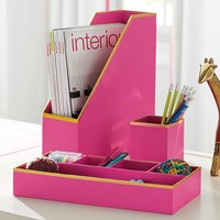 Printed Paper Desk Accessories Set- Solid Pink With Gold Trim