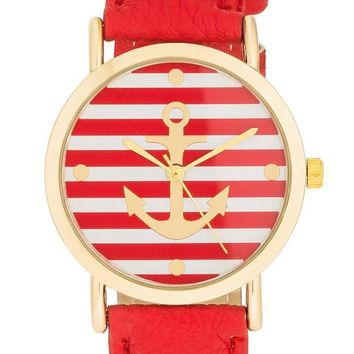 Red & Gold Nautical Stripe Face Watch
