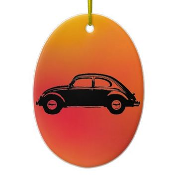 Classic Bug Double-Sided Oval Ceramic Christmas Ornament