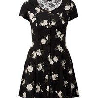 Black Floral Print Lace Back Tea Dress