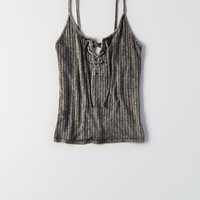 AEO Soft & Sexy Ribbed Lace-Up Cami, True Black