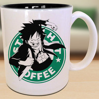 Luffy One Piece Strawhat Starbucks Anime Manga Japenase Inspired Geek Nerd Mug