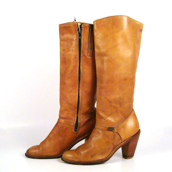 Brown Vintage Boots 1980s High Heel Dingo Leather  size 6 1/2