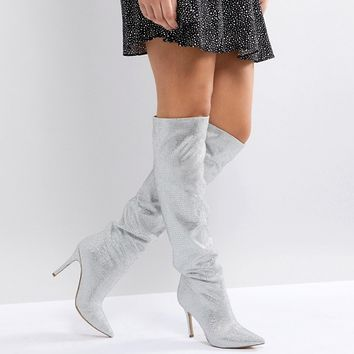 ALDO Claira Crystal Slouch Boots at asos.com
