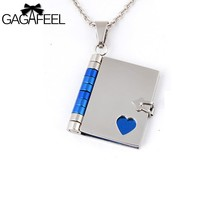GAGAFEEL Love Book Laser Engraving/Customized Letter Logo Stainless Steel Pendant Necklaces