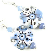 Grey Periwinkle Lampwork Earrings,  Glass Bead Earrings, Dangle Earrings, Beadwork Earrings, Blue Abstract Earrings, White Lampwork Jewelry