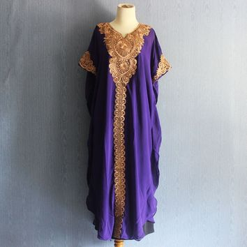 Sun Flower womens Caftan Dress, Beach Summer Party Purple Kaftan Embroidery Dress, Maxi Dress, Long Royal Purple Maternity Dress