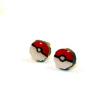 Pokeball Earrings, Pokeball Studs, Pokeball Stud Earrings, Pokemon Jewelry, Pokeball Jewelry, Wood Burned Studs, Wood Burned Jewelry