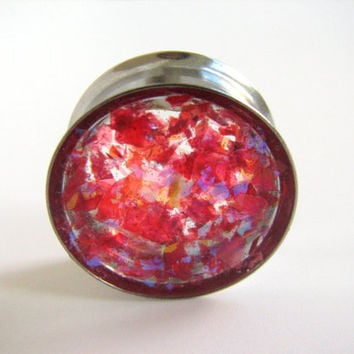 Plugs Gauge Pink Shimmer Sparkly Iridescent Holographic Reflective Handmade Unique Custom Ear Tunnels Reversible