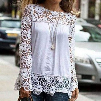 AVODOVAMA M Fashion Women Lace Chiffon Casual Feminine Solid Blouses Flower Hollow-out Long Sleeve Shirts