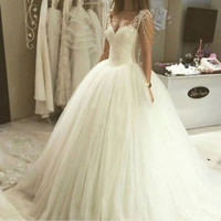 Ivory Tulle and Lace Wedding Dress with Beading Tassel Custom Size 0 2 4 6 8 10