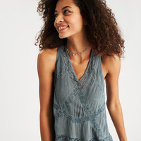 AEO Lace-Paneled Tank, Blue
