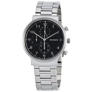 Skagen Ancher Black Dial Mens Chronograph Watch SKW6360