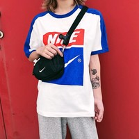 Nike Blue White Contrast Tee Shirt Top B-MG-FSSH White/Blue