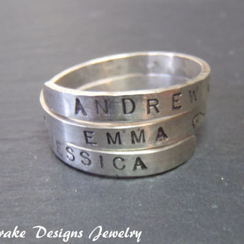Mothers Ring Sterling Silver  .. Custom word or message Gift for mom  Personalized Ring