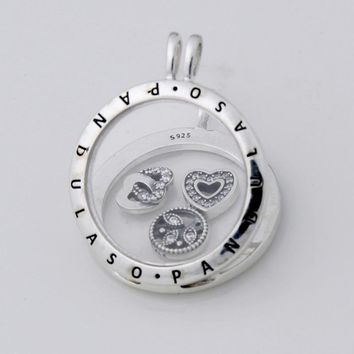 Pandulaso Love Family Petites Large Floating Locket Necklace & Pendant for women DIY necklace 925 sterling silver jewelry chain