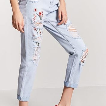 Distressed Embroidered Straight-Leg Jeans