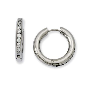 Men's Titanium CZ Hinged Hoop Earrings
