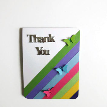 Rainbow Thank you Card Colorful Thank You Card