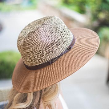 Split Faux Leather Detail Straw Hat
