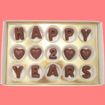 Happy 2 Years Large Milk Chocolate Letters-Anniversary Gift for Husband Wife Couple-Made to Order