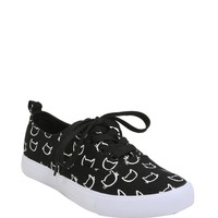 Cat Head Print Lace-Up Sneakers