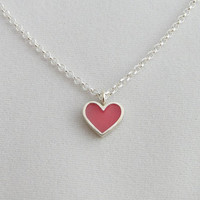 Pink Heart Necklace Pendant - Heart Jewelry - Sterling Silver and Crystal Enamel