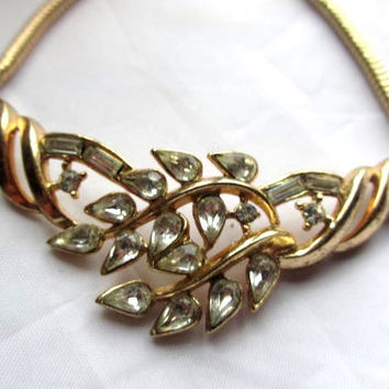 Trifari Necklace, Rhinestone, Pat Pend, 1950s Vintage Jewelry, Gift for Her, SPRING SALE