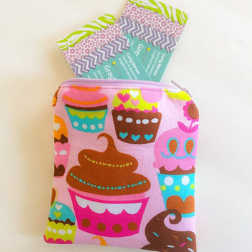 Cupcake Fabric Coin Wallet, Ladies Change Purse, Small Zipper Pouch, Coin Purse Wallet