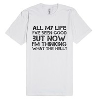 Avril Lavigne What The Hell Lyric Tee-Unisex White T-Shirt