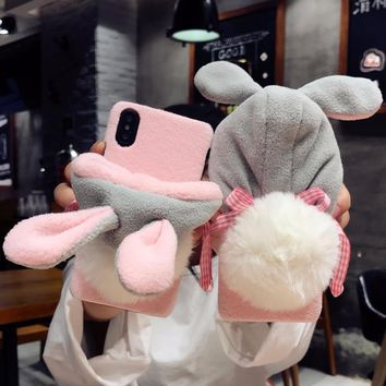 DOEES Luxury Warm Cute Case For iPhone 7 7 Plus 6 6S Plus X Phone Cases PC Furry Rabbit Hat Back Cover For iPhone X 10 8 Fundas