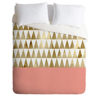 Georgiana Paraschiv Gold Triangles Duvet Cover