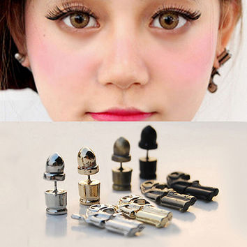 Bluelans Cool Stereo Pistol Bullets Asymmetry Alloy Stud Earrings Ear Piercing Jewelry