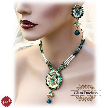 Green Gold Crystal Statement Kundan Indian Bridal Jewelry Set