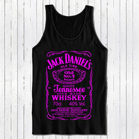 jack daniels tshirt black tank top with pink printing color populer womens and mens tank top