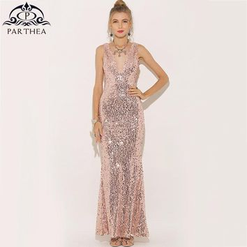 Parthea Plunge V-neck Women Sexy Maxi Dress Gold Mermaid Sequin Party Dress Bling Metallic Long Trumpet Dresses Vestido 2018 New