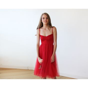Red Ballerina Tulle Midi Dress 1106