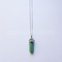 green aventurine sterling silver necklace - Nomadic Store